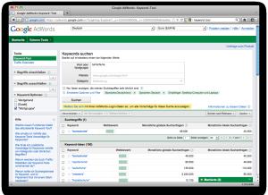 Screenshot des Keyword Tools