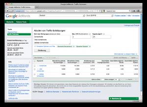 Screenshot des Traffic Estimators