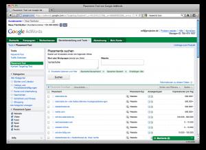 Screenshot des Placement Tools