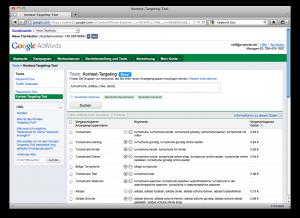 Screenshot des Kontext-Targeting Tools
