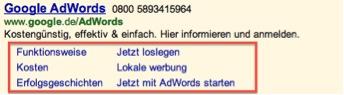 Screenshot Google AdWords Sitelinks