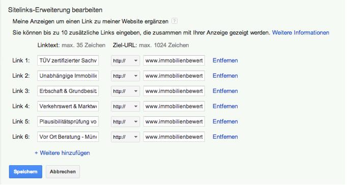 Sitelinks-Erweiterung bearbeiten