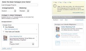 Erstellung einer Anzeige LinkedIn