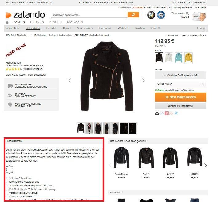 Zalando macht es vor und schreibt tolle Produktbeschreibungen.