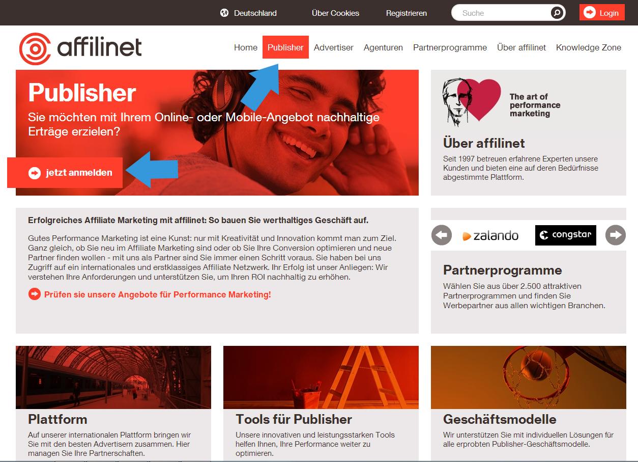 Startseite Affilinet