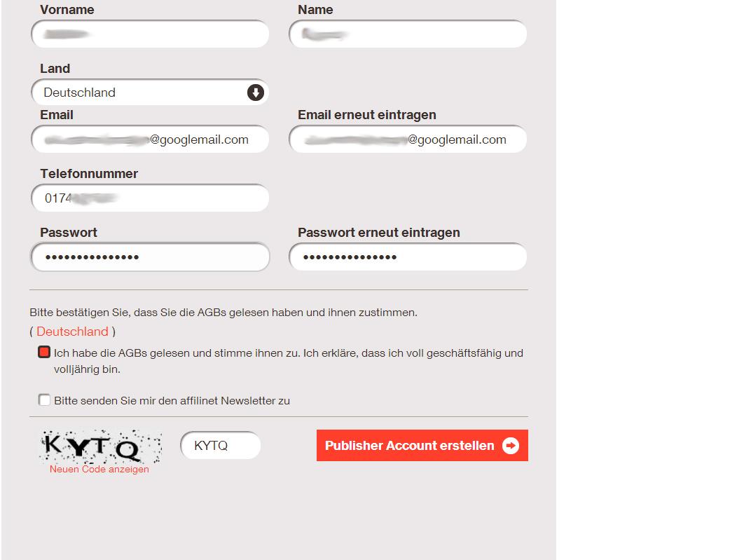 Anmeldformular Affilnet