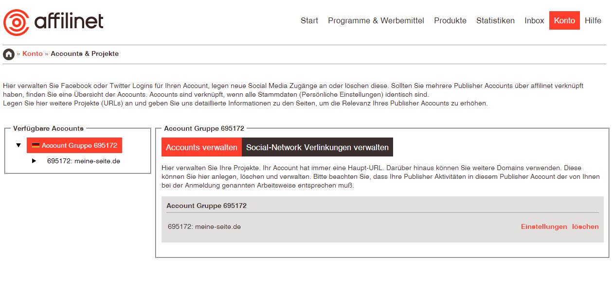 Webseiten einstellen Affilinet