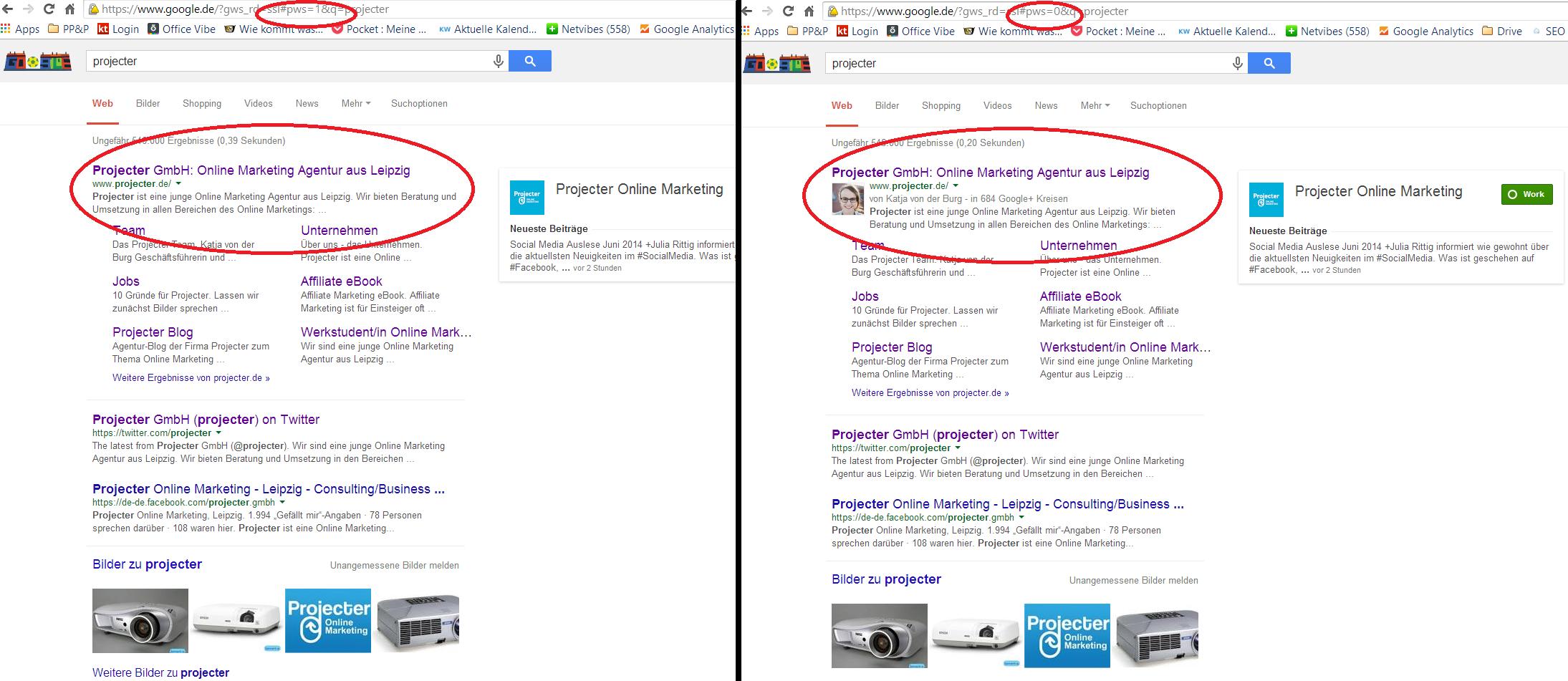 Links: Suchergebnis ohne unterdrückte personalisierte Suche, Rechts: Suchergebnis mit unterdrückter personalisierter Suche