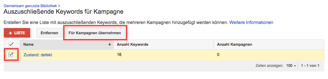 negative Keywordlisten für Kampagnen