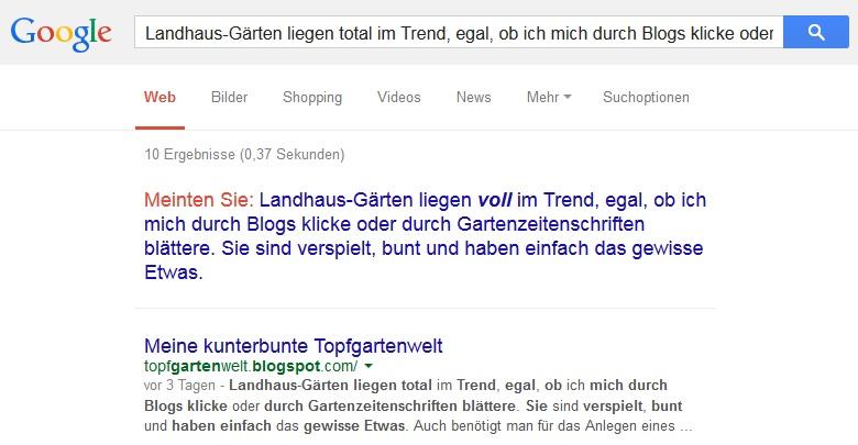 Textausschnitt bei der Google-Suche eingeben, um verdächtige Blogs zu checken