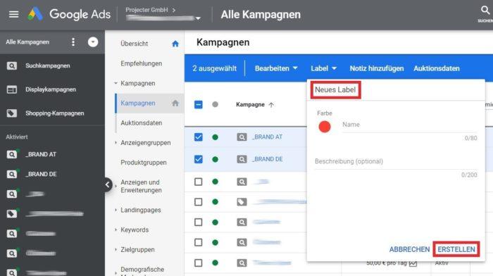 Screenshot des Google Ads Editors, beim Anlegen eines neuen Labels