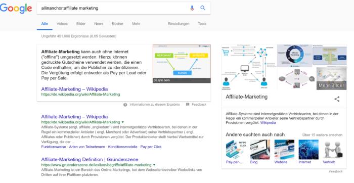 Veranschaulichung der Suchanfrage Affiliate Marketing bei Google