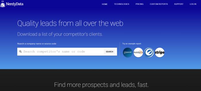 Veranschaulicht wird die Homepage von NerdyData