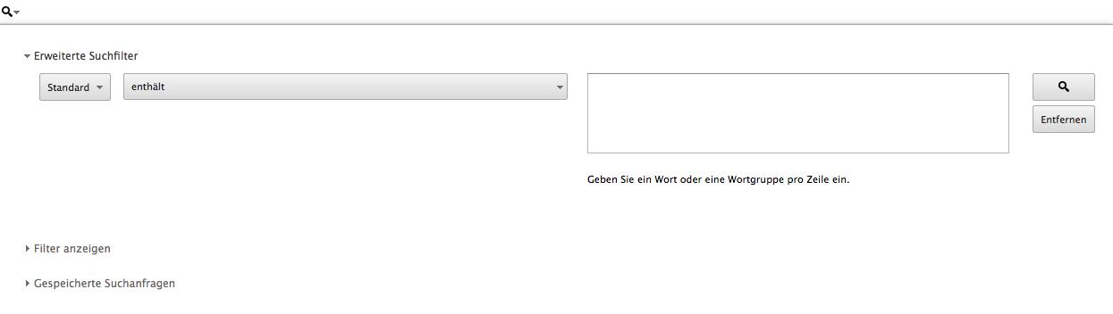 """Screenshot """"Erweiterte Suche"""" AdWords Editor"""