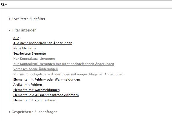 """Screenshot """"Erweiterte Suchfilter"""" AdWords Editor"""