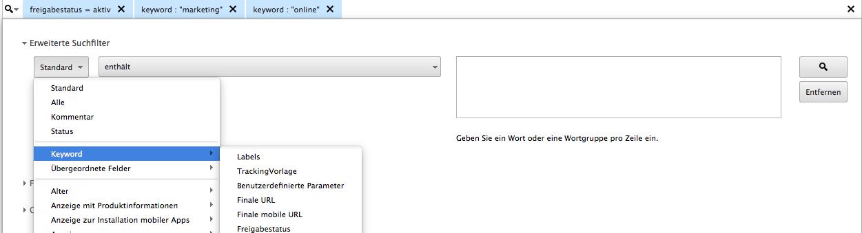 "Screenshot ""Mehrere Kriterien"" Ad Words Editor"