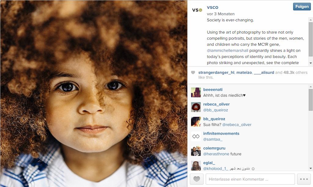 Instagrambild Gesicht zeigen