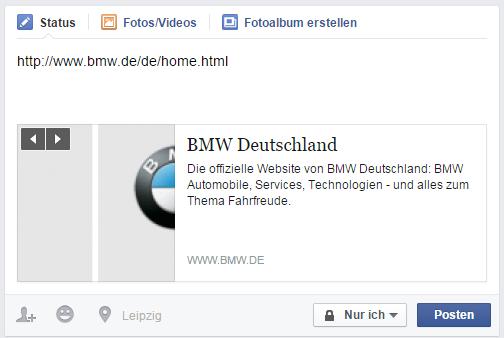 Facebook OG-Tags BMW Beispiel