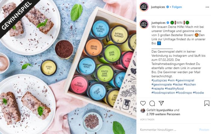 """Ein Screenshot von einem Instagram-Posting des Accounts """"Justspices"""", in dem es um ein Gewinnspiel geht"""
