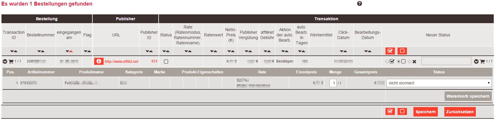 Testbestellung im Netzwerk ueberpruefen -Affilinet