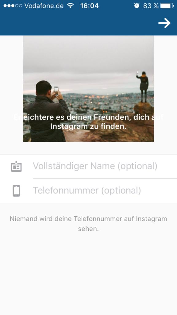 Instagram- Account anlegen 2