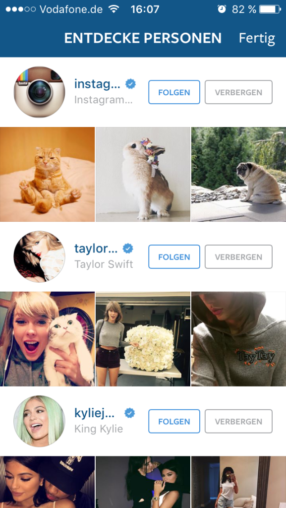 "Instagram - ""Personen entdecken"""