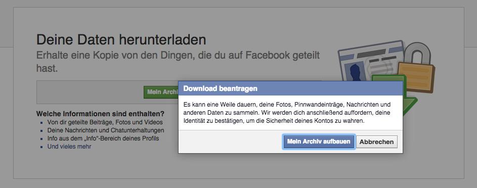 Facebook - Archiv Daten beantragen