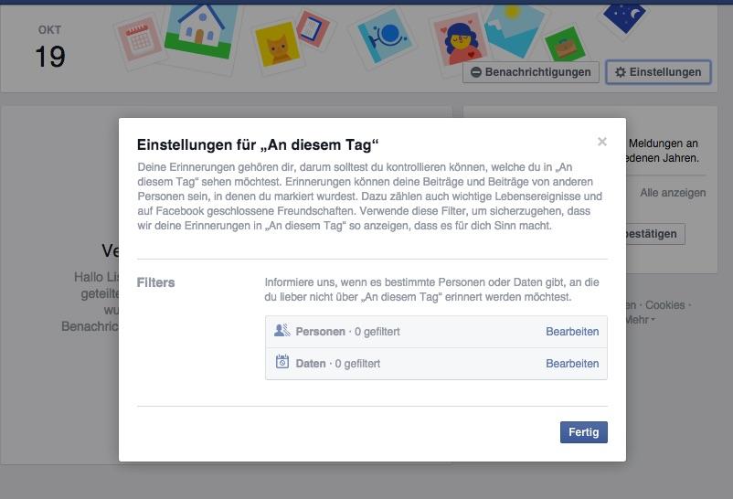 Facebook - Erinnerungen bearbeiten