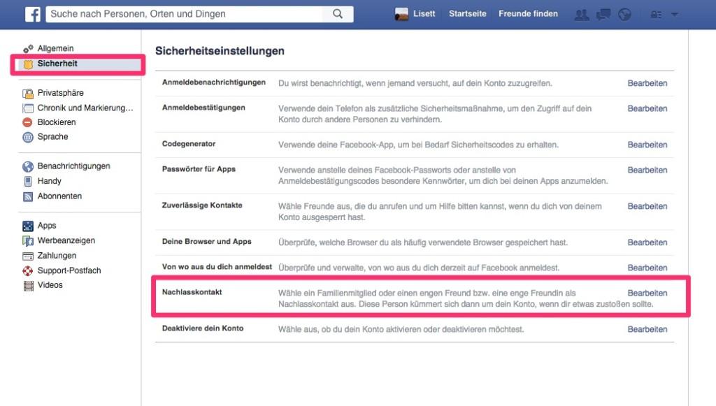 Facebook - Nachlasskontakt