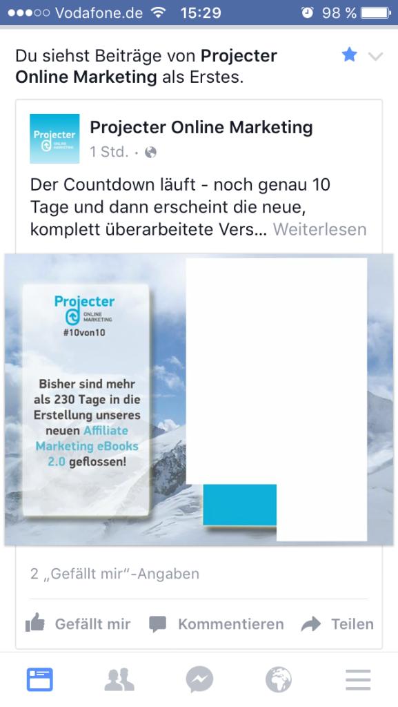 Facebook - Prio Anzeige