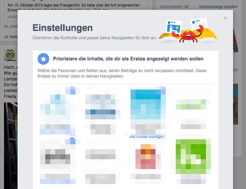 Facebook - Prio Einstellungen Desktop
