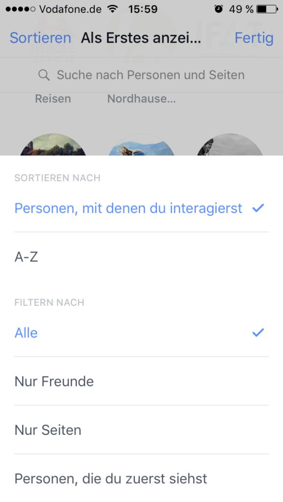 Facebook - Prio sortieren