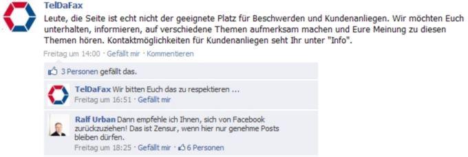 Teldafax Negativbeispiel FB