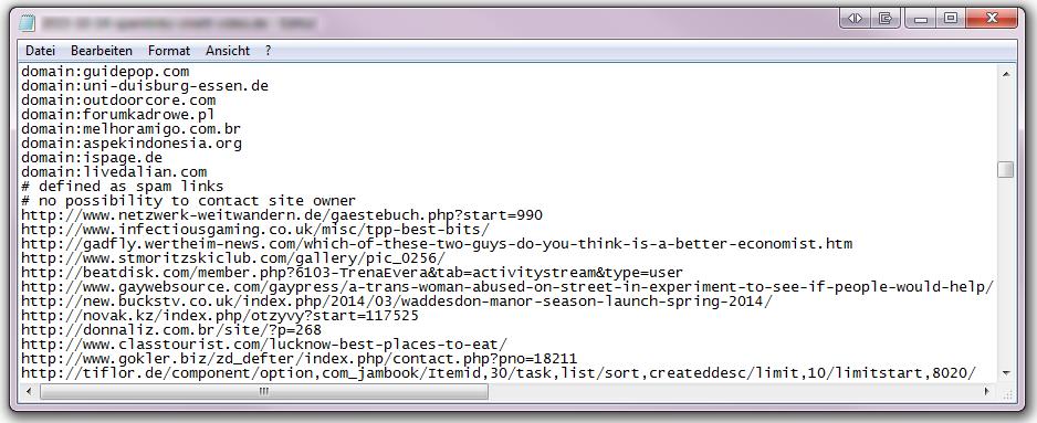 Disavow-Datei-Beispiel
