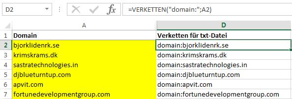 Excel-Verketten