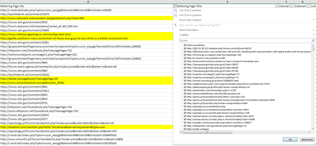 Filtern-Referring-Page-URL