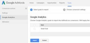 Import der Smart Goals aus Analytics in AdWords