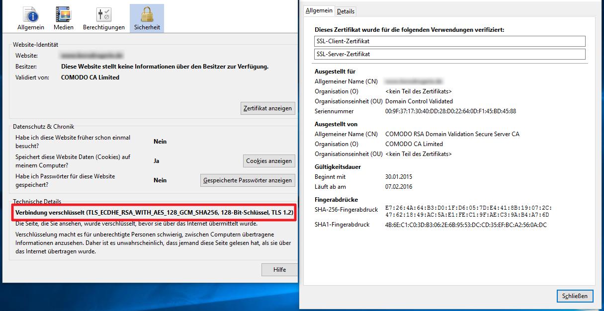 Browser SSL-Zertifikat Informationen