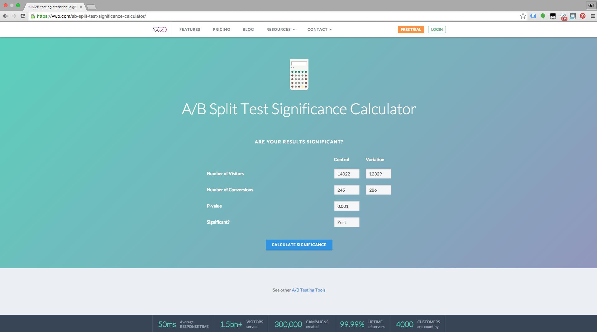 Split-Test Significance Calculator