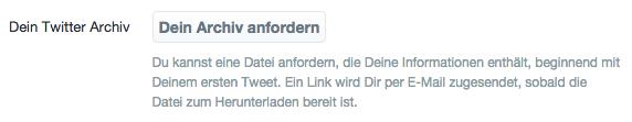 Twitter-Archiv anfordern