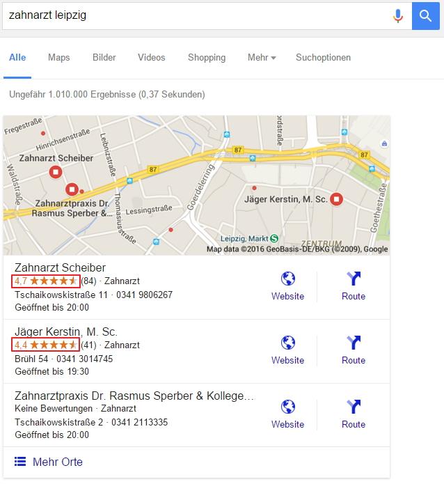 Bewertungen in der lokalen Suche