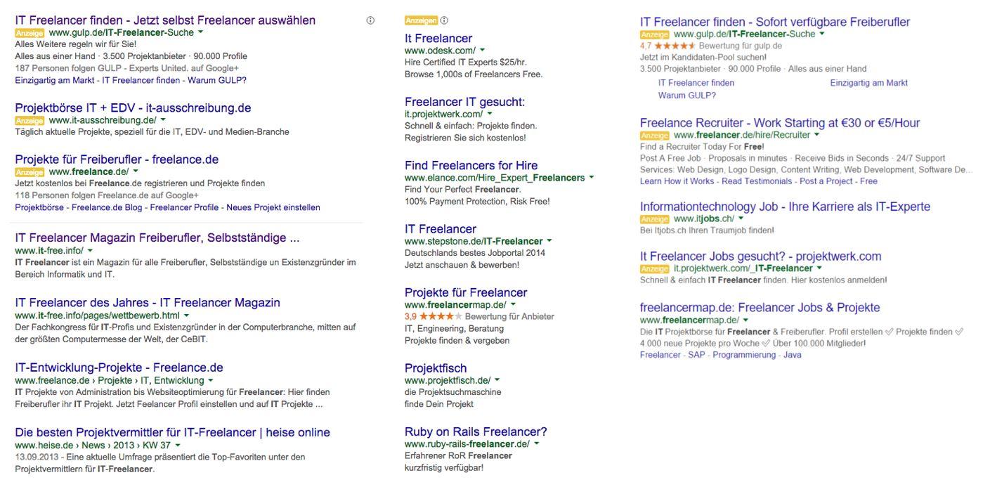 Textanzeigen bei der Desktop-Suche