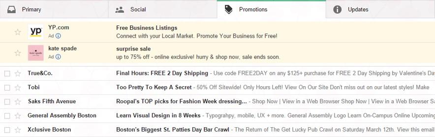 Gmail Ads altes Design