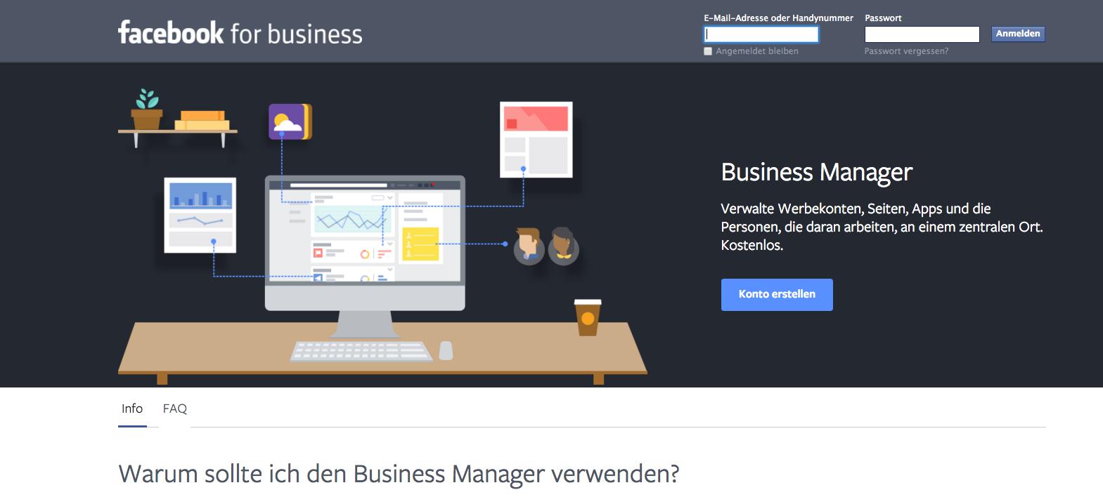 Business Manager Startseite