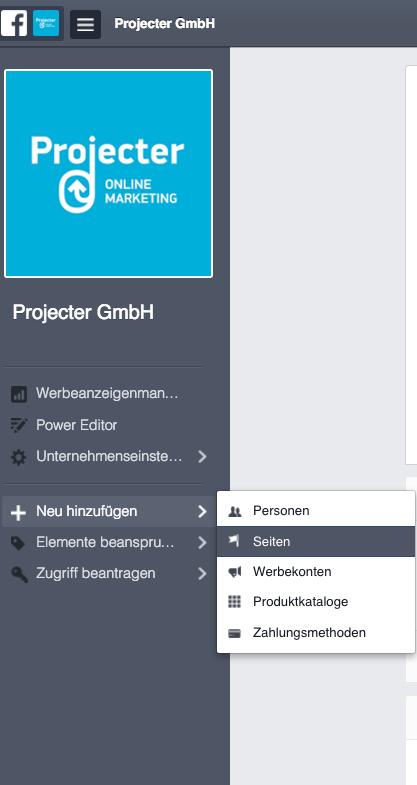 """""""Seiten hinzufügen"""" FB Business Manager"""