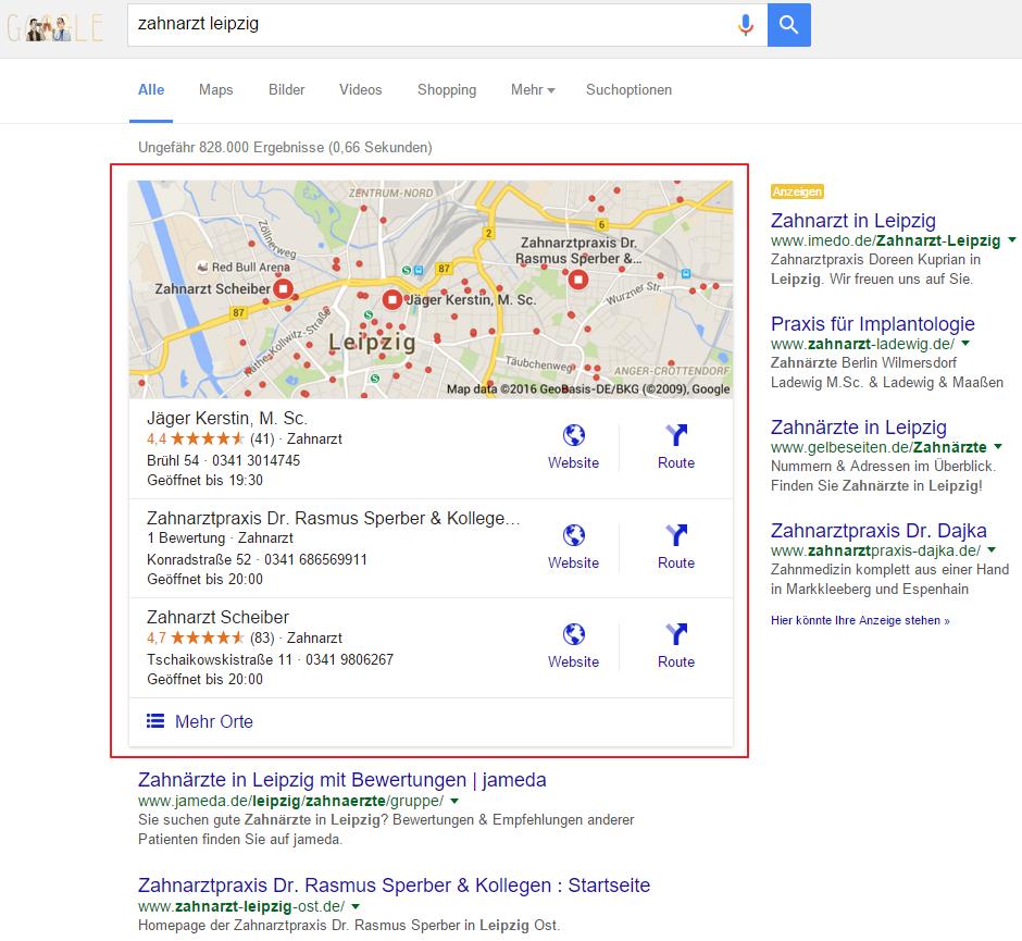 Darstellung lokaler Suchergebnisse (Google)