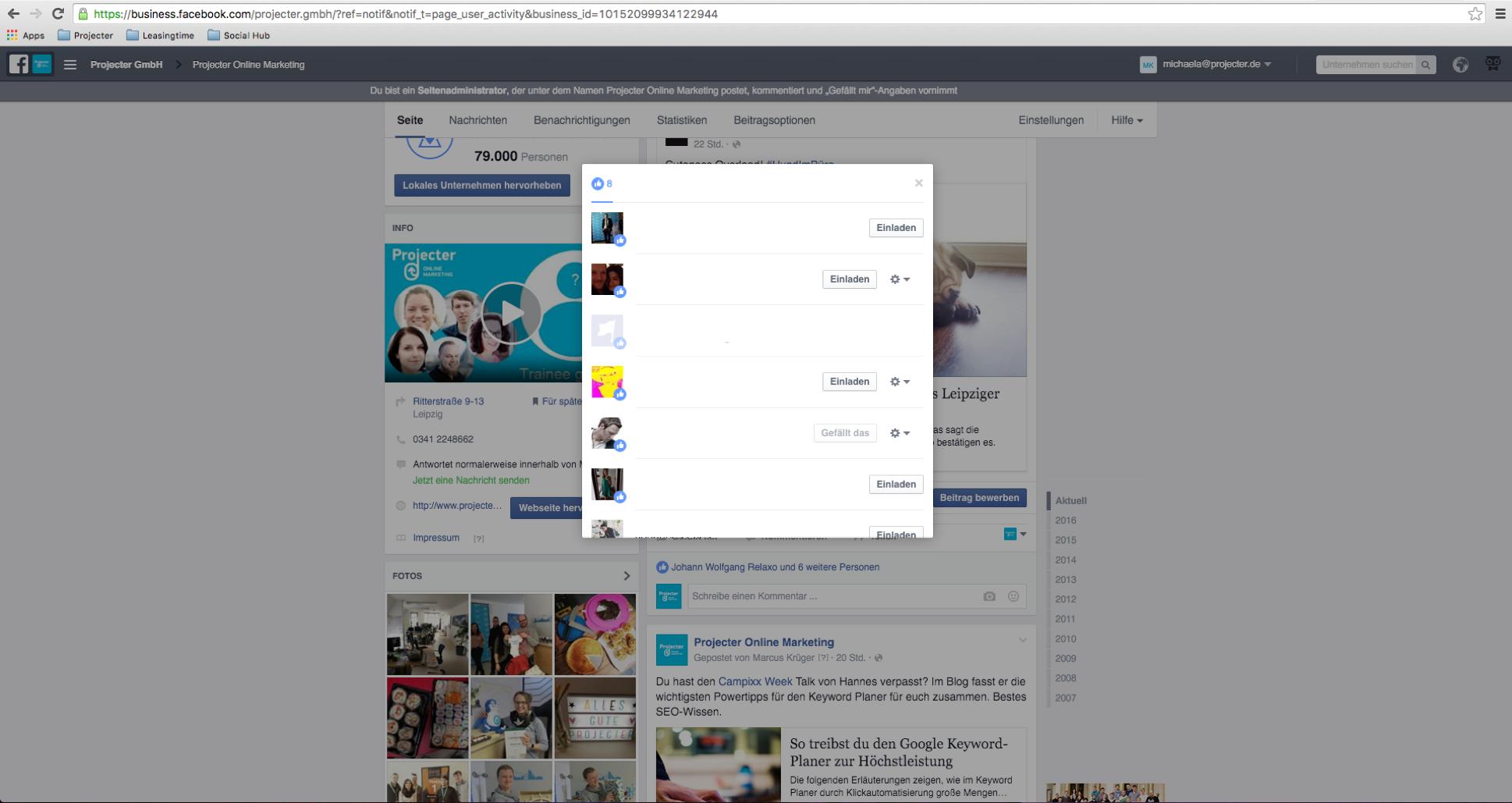 Einladen-Button Facebook