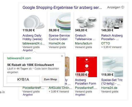 Rabattcode bei Google Shopping