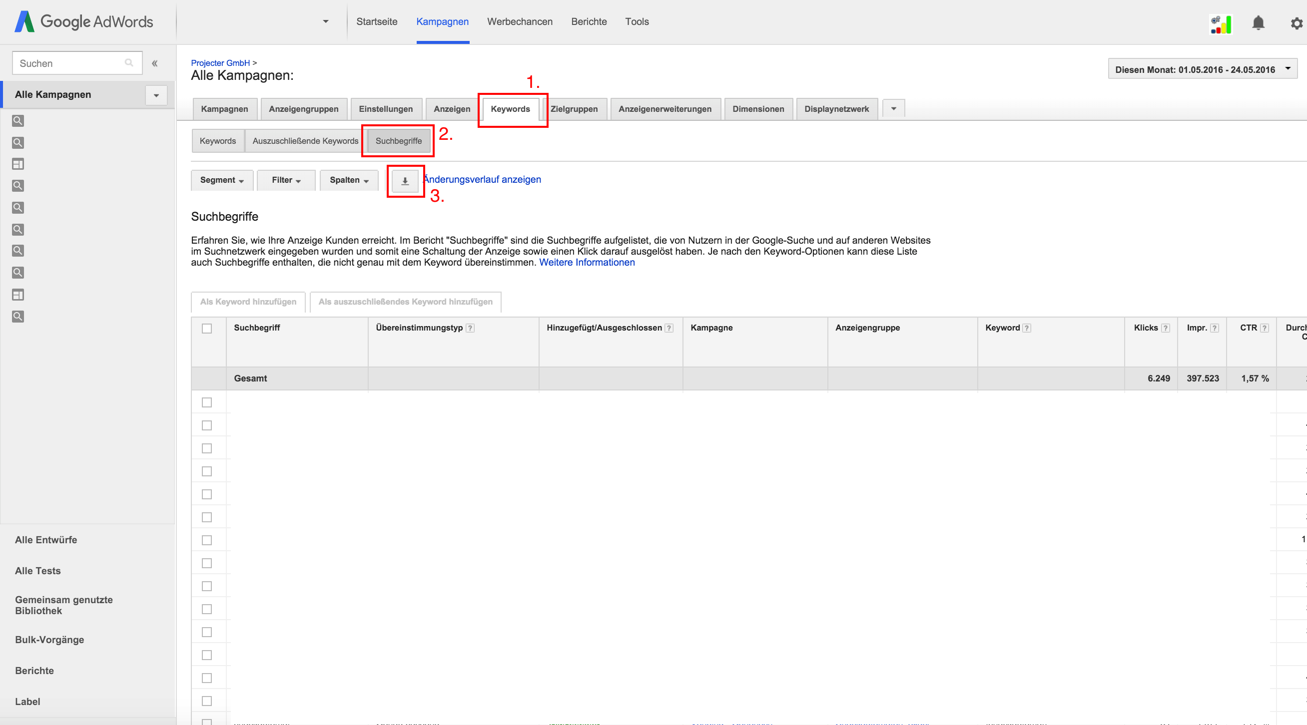 Keyword-Export Google