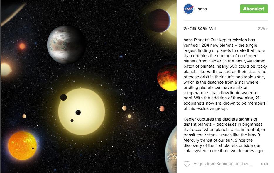 Instagram Beispiel - NASA
